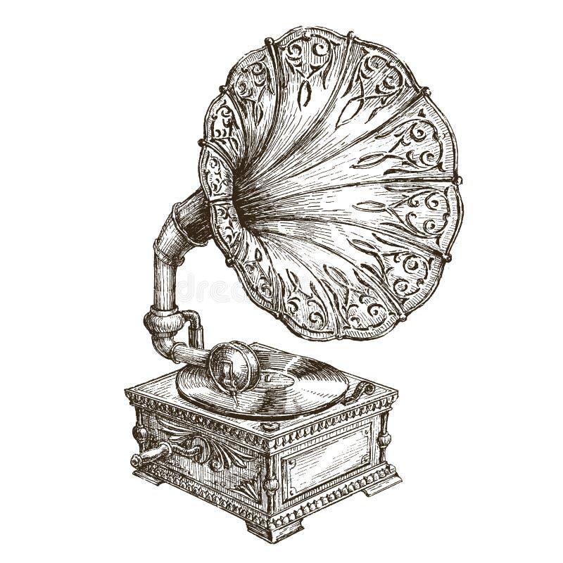 Plantilla del diseño del logotipo del vector del gramófono música o stock de ilustración