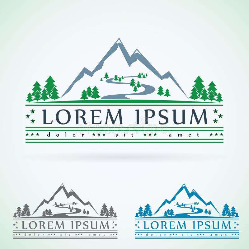Plantilla del diseño del logotipo del vector del vintage de las montañas, icono verde del turismo stock de ilustración