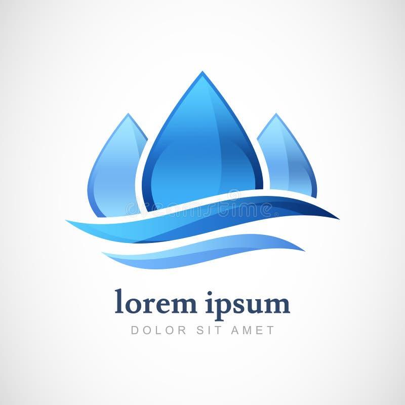 Plantilla del diseño del logotipo del vector Descenso abstracto del agua azul, shap de la onda ilustración del vector