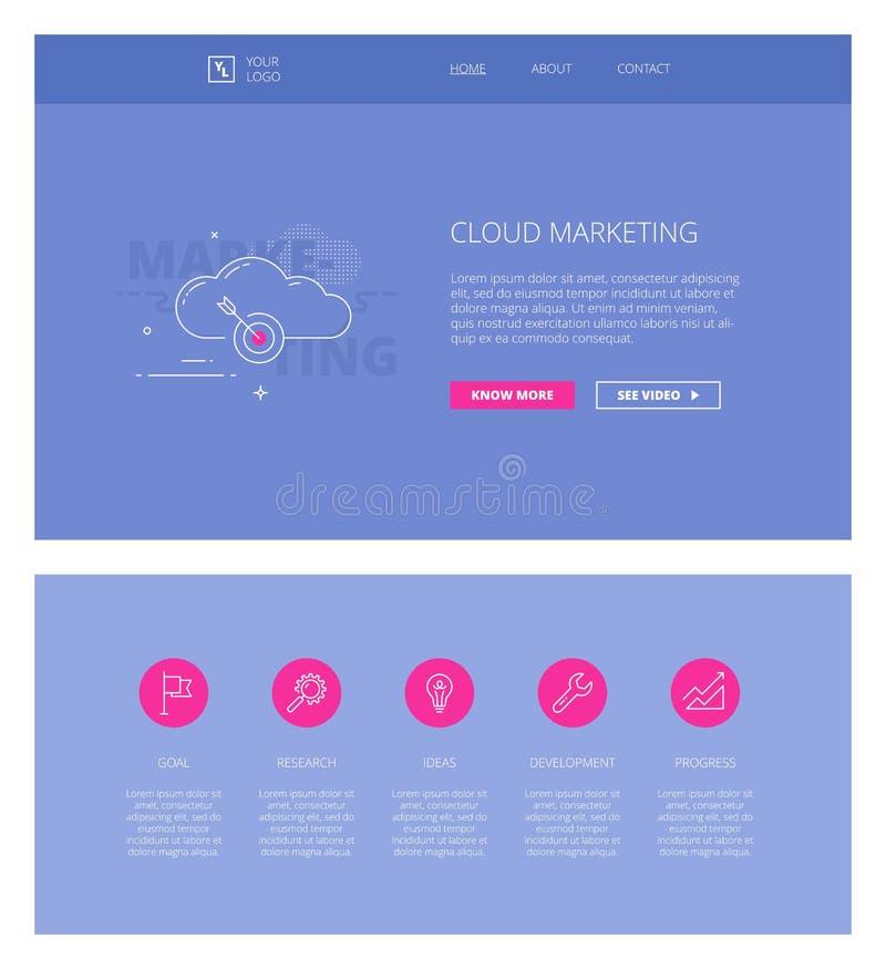 Plantilla del diseño del márketing de la nube para los sitios web y los apps libre illustration