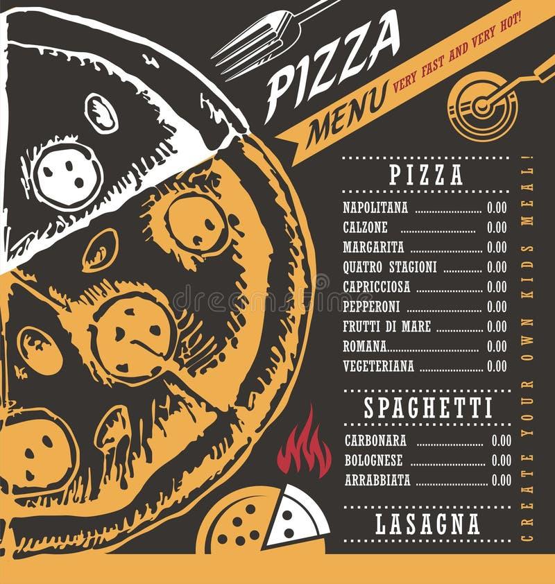 Plantilla Del Diseño Del Menú De La Pizzería Ilustración del Vector ...