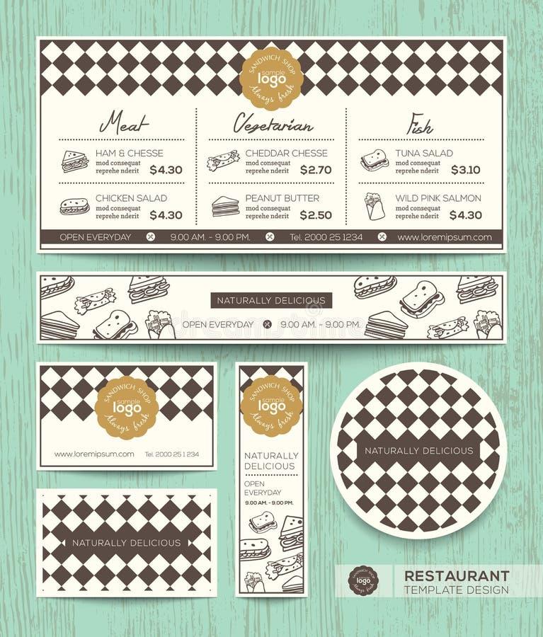 Plantilla del diseño del menú del bocadillo del café del restaurante ilustración del vector