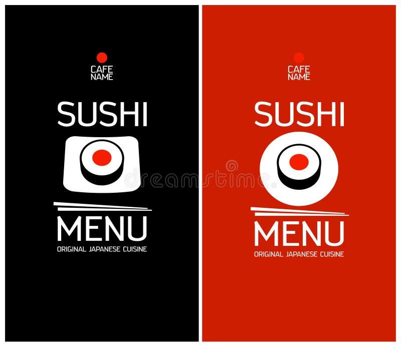 Plantilla del diseño del menú del sushi. ilustración del vector