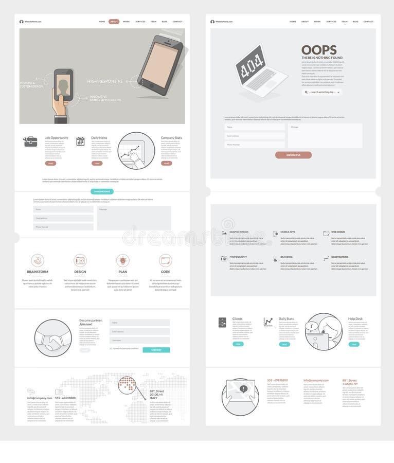 Plantilla del diseño del sitio web de dos páginas con los iconos y los avatares del concepto para la cartera de la empresa de neg ilustración del vector