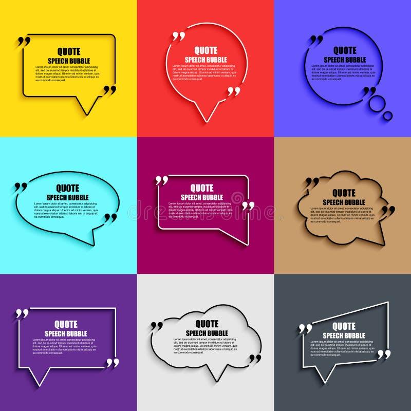 Plantilla del diseño del vector de la burbuja del discurso de la cita stock de ilustración