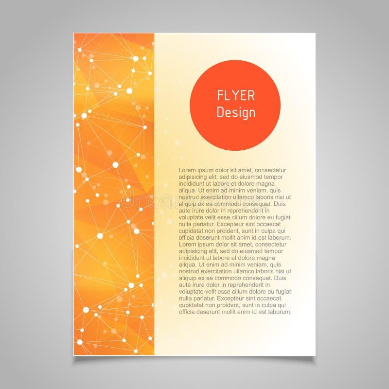 Plantilla del diseño del vector de la página del folleto con tema molecular abstracto de la conexión stock de ilustración
