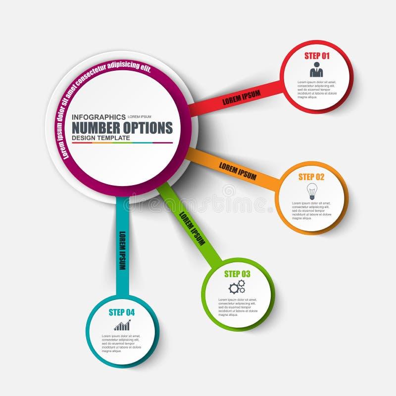 Plantilla del diseño del vector de las opciones del número de Infographic Puede ser utilizado para la disposición del flujo de tr stock de ilustración