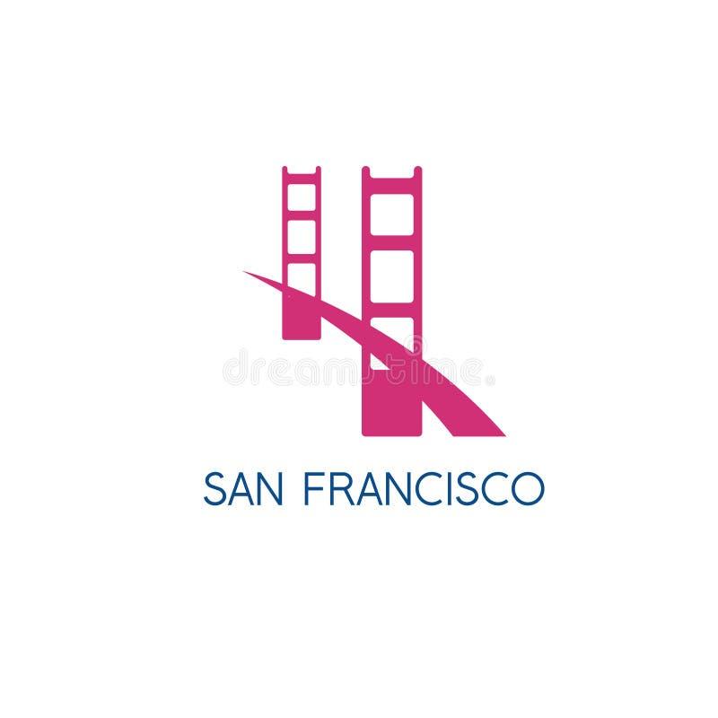 Plantilla del diseño del vector de puente Golden Gate de San Francisco stock de ilustración