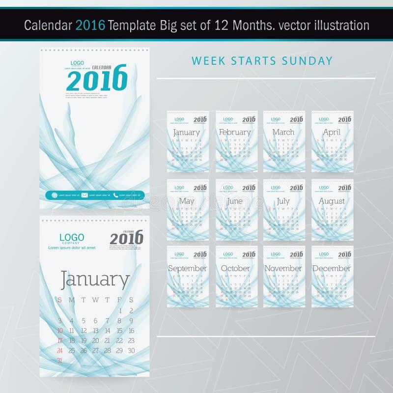 Plantilla del diseño del vector del calendario de escritorio 2016 Sistema grande de 12 meses stock de ilustración