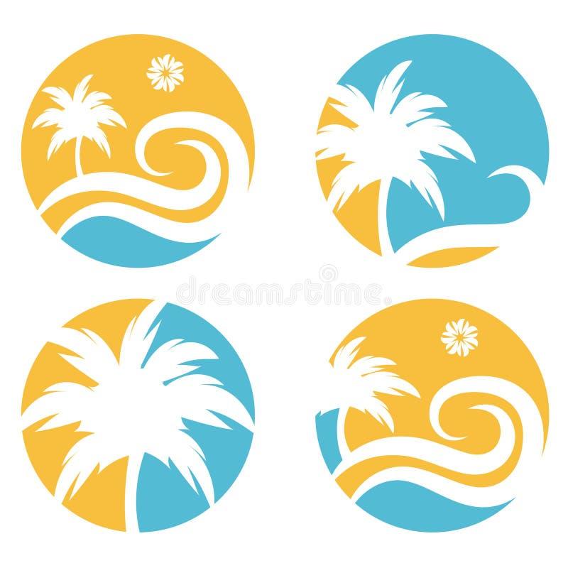 plantilla del diseño del vector del viaje con la palmera ilustración del vector