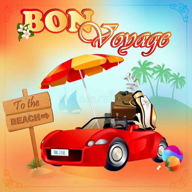 Plantilla del diseño del viaje; El coche cargó con el equipaje, parado delante a la muestra de la playa libre illustration