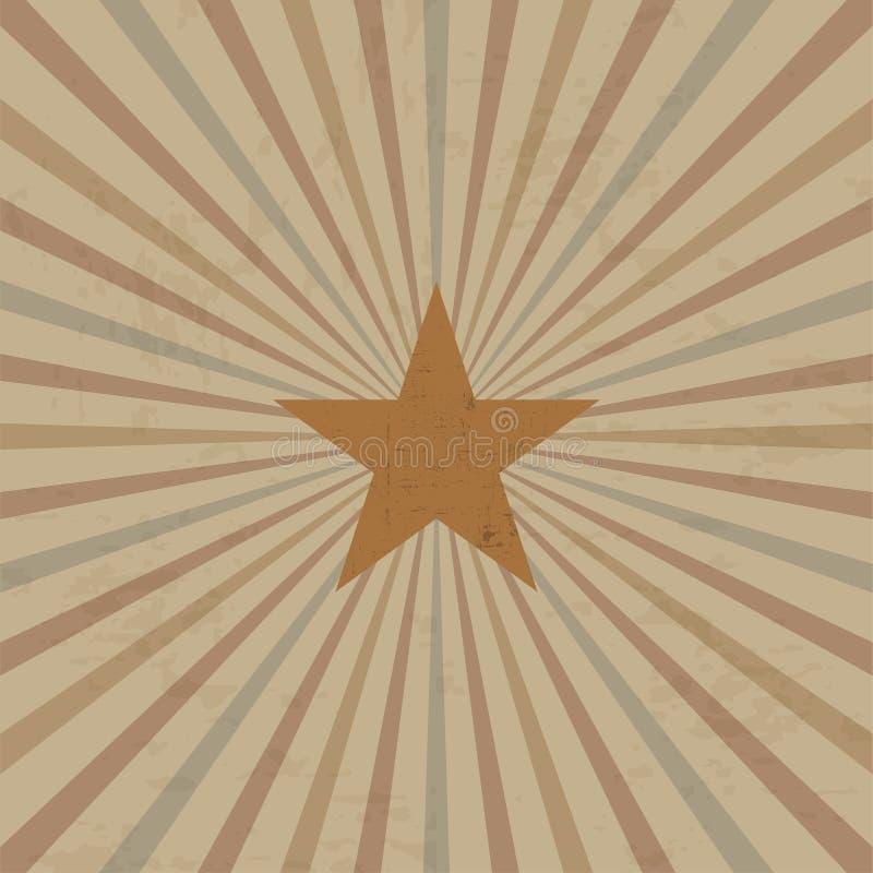 Plantilla del diseño del vintage con el marco y rayos de sol con la estrella ilustración del vector