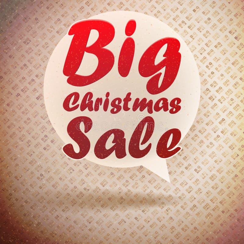 Plantilla del diseño del vintage de la venta de la Navidad. ilustración del vector