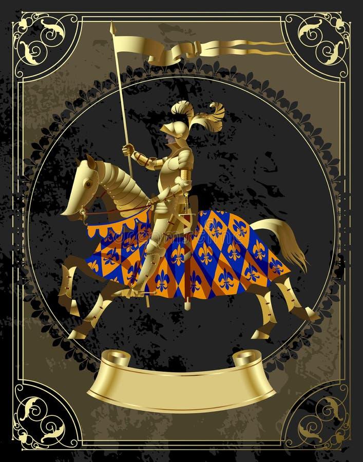 Plantilla del diseño del vintage en marco decorativo con un caballero del oro en la ronda libre illustration