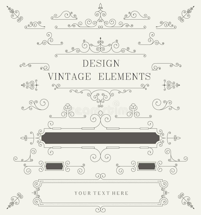 Plantilla del diseño del vintage, fronteras, elementos retros, capítulo, para el vector de la invitación libre illustration