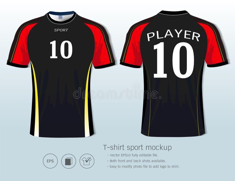 Plantilla del diseño del deporte de la camiseta para el club del fútbol o toda la ropa de deportes stock de ilustración