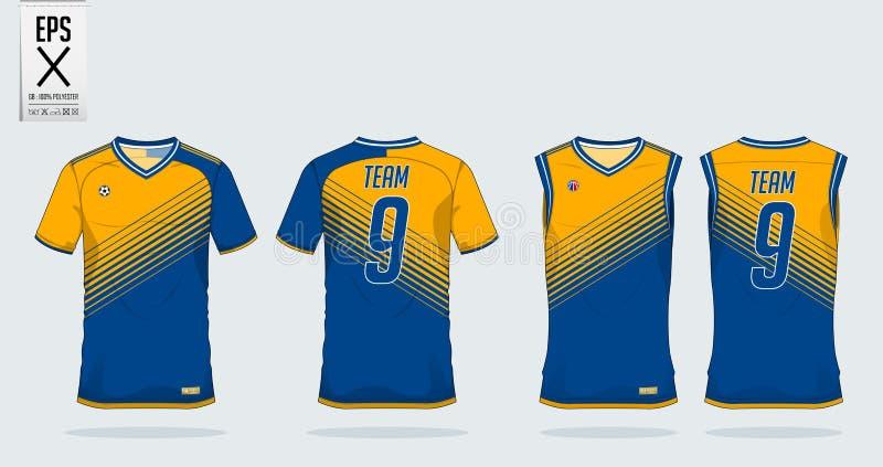 Plantilla del diseño del deporte de la camiseta para el jersey de fútbol, el equipo del fútbol y el top sin mangas para el jersey libre illustration