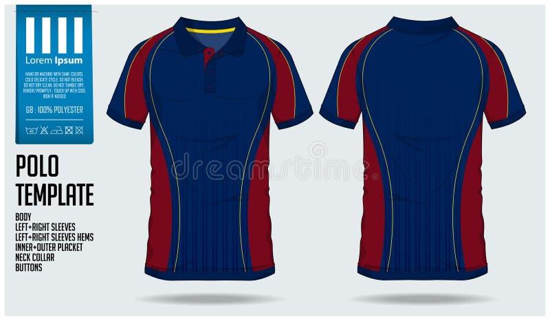 Plantilla del diseño del deporte de la camiseta del polo para el jersey de fútbol, el equipo del fútbol o el club de deporte Divi ilustración del vector