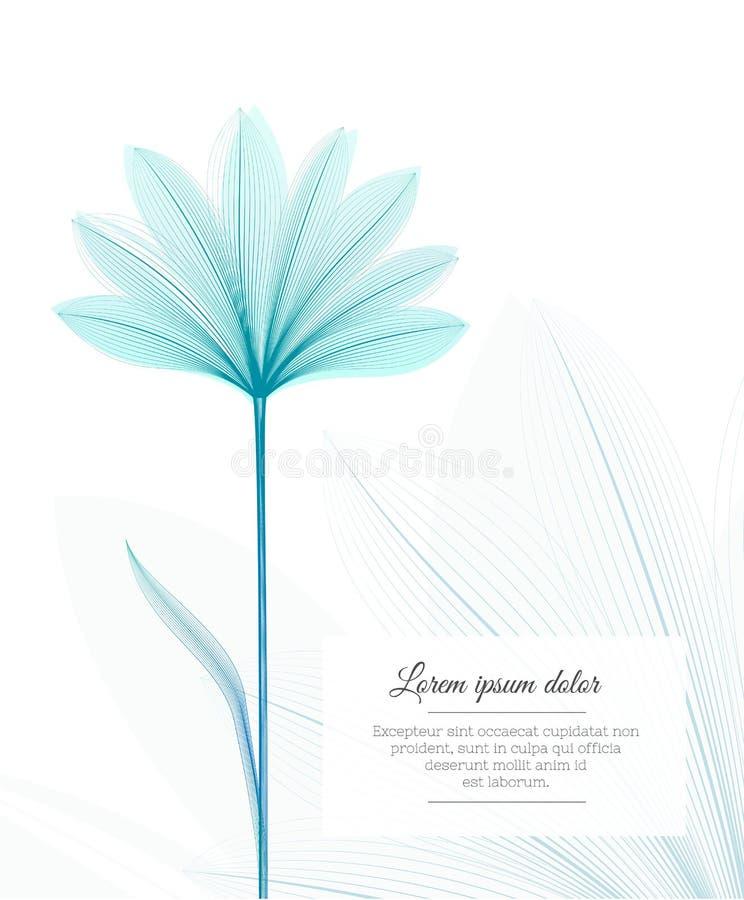 Plantilla del diseño floral Efecto de la radiografía de la flor Aviador de publicidad del ot de la tarjeta de felicitación ilustración del vector