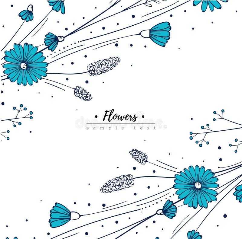 Plantilla del diseño floral Wildflowers del garabato Florezca el marco libre illustration