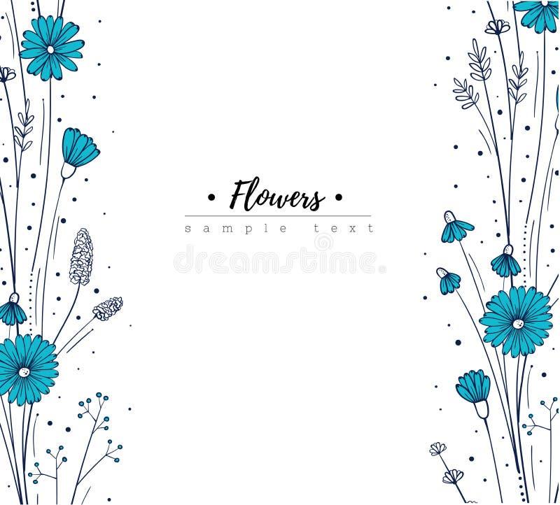 Plantilla del diseño floral Wildflowers del garabato Marco azul de la flor stock de ilustración