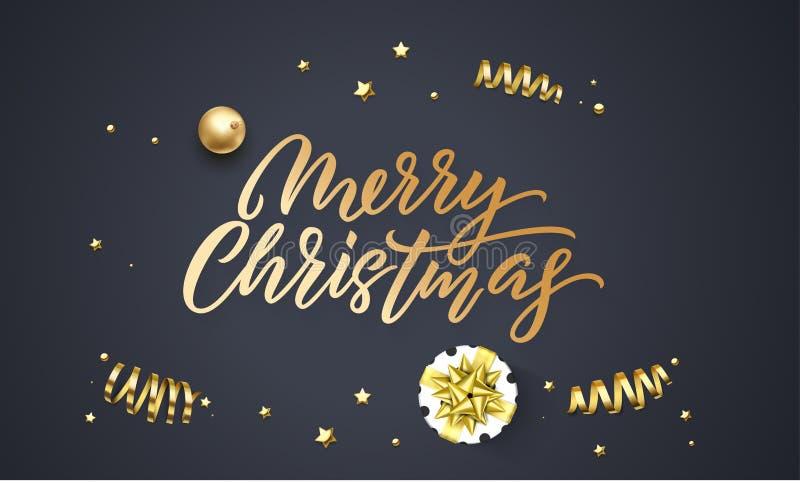 Plantilla del diseño del fondo del negro de la tarjeta de felicitación de la Navidad de la bola de la decoración y del confeti de stock de ilustración