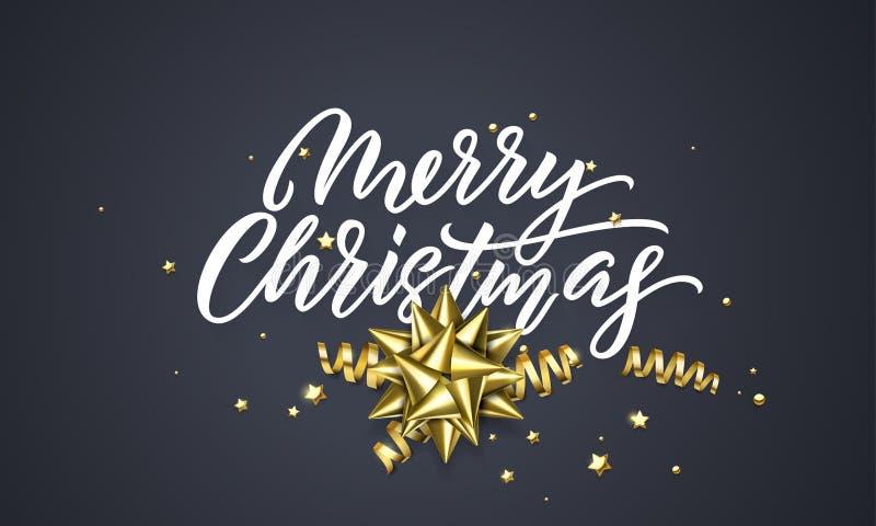 Plantilla del diseño del fondo del negro de la tarjeta de felicitación de la Navidad de la bola de la decoración y del confeti de ilustración del vector