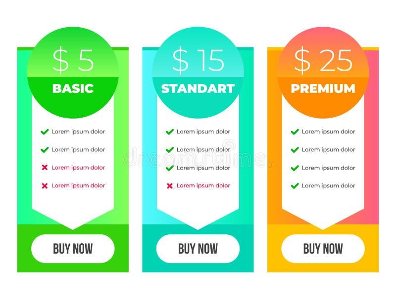 Plantilla del diseño gráfico de la lista de precios de la pendiente, disposición plana moderna de la oferta de la comparación de  ilustración del vector