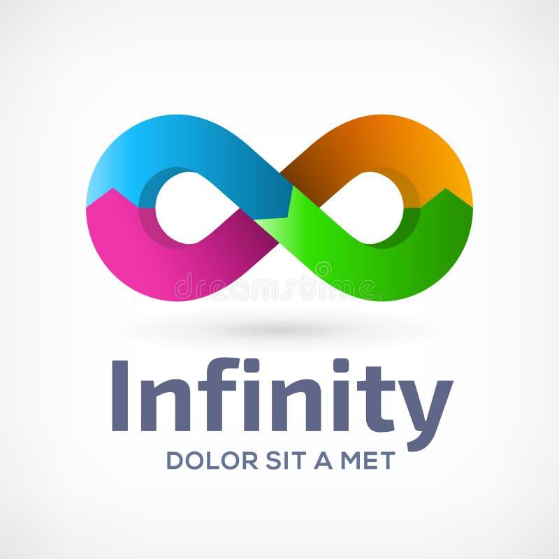 Plantilla del diseño del icono del logotipo del símbolo del lazo del infinito con las flechas stock de ilustración