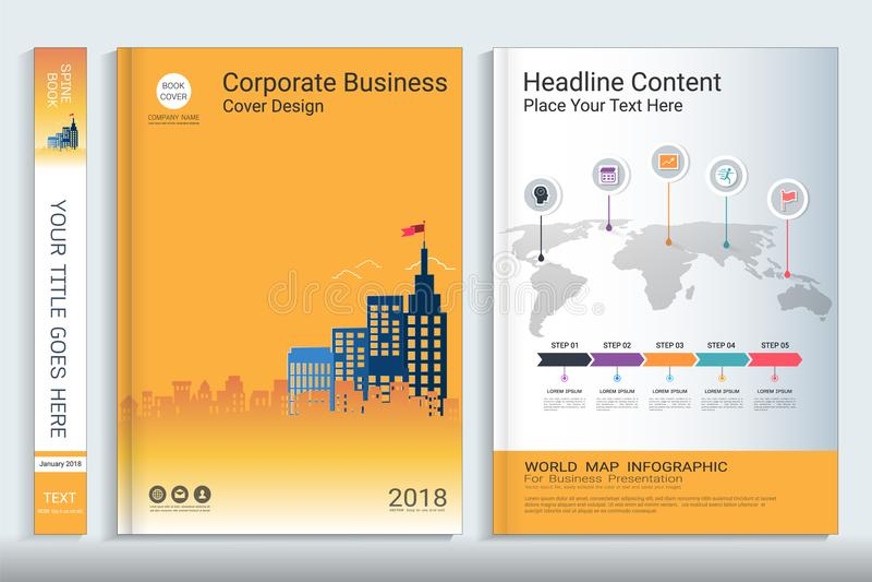 Plantilla del diseño del libro de la cubierta con los elementos del infographics de la presentación stock de ilustración