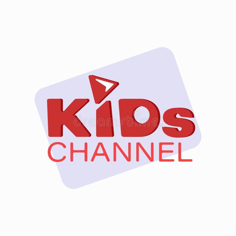 Plantilla del diseño del logotipo del canal de los niños stock de ilustración