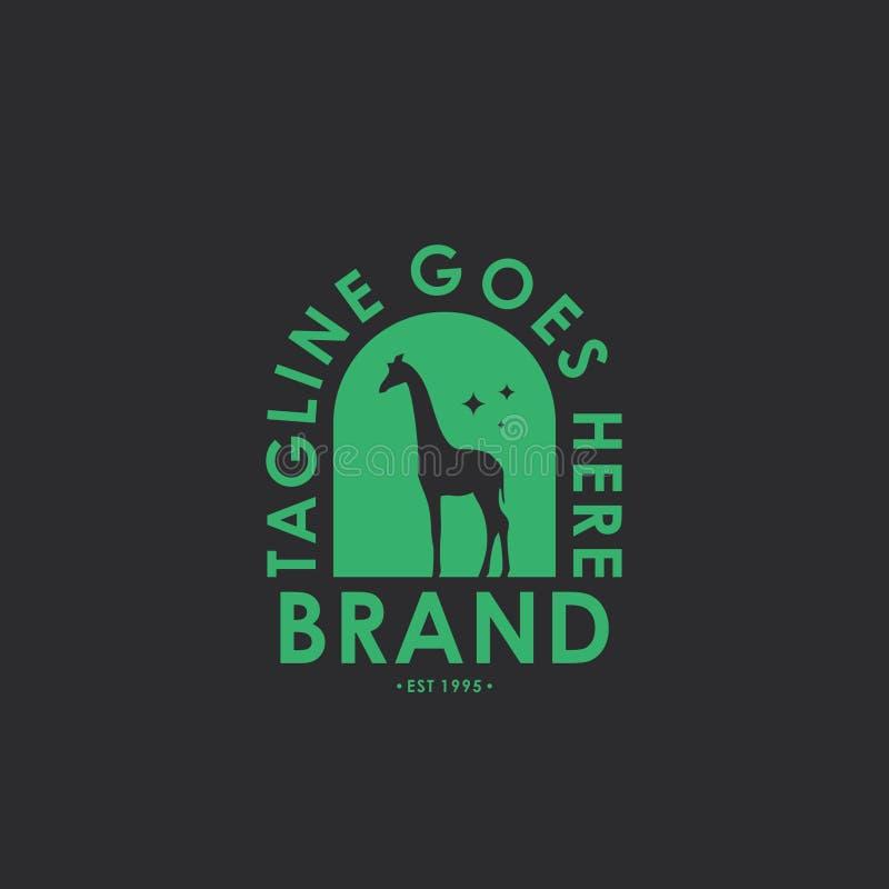 Plantilla del diseño del logotipo de la etiqueta de la jirafa Diseñe los elementos para el logotipo, etiqueta, emblema, muestra e ilustración del vector