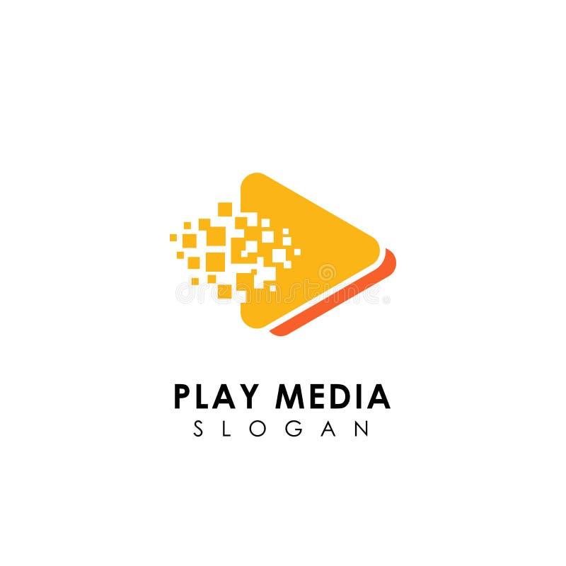 plantilla del diseño del logotipo de los medios del juego del pixel símbolos del icono del juego del triángulo stock de ilustración