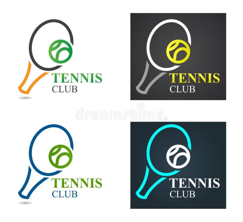 Plantilla del diseño del logotipo del deporte del tenis del vector Campeonato del emblema del tenis Estafa de tenis con concepto  stock de ilustración