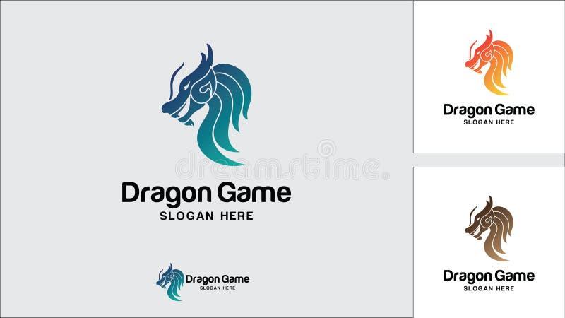 Plantilla del diseño del logotipo del dragón, ejemplo del vector, logotipo del juego stock de ilustración