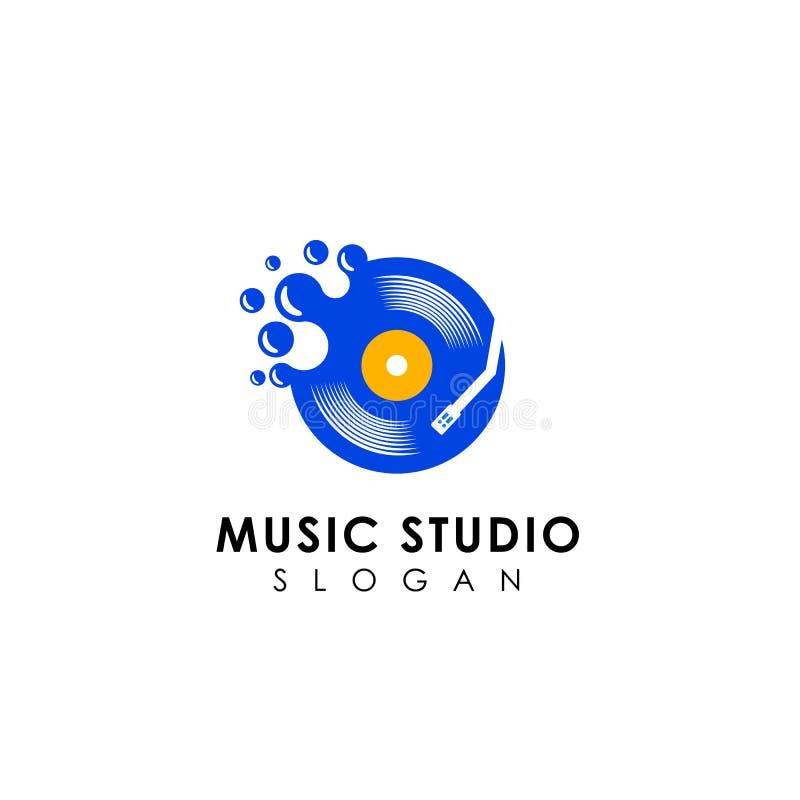 Plantilla del diseño del logotipo del juego de la música de los puntos símbolo del icono del vector del disco del vinilo stock de ilustración