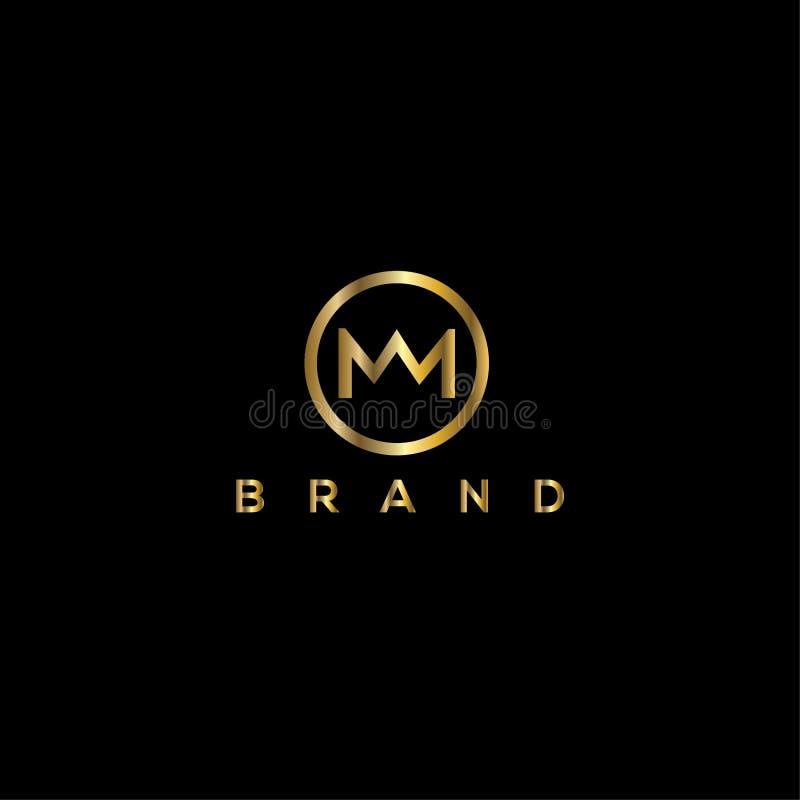 Plantilla del diseño del logotipo del vector de la corona de la letra de M stock de ilustración