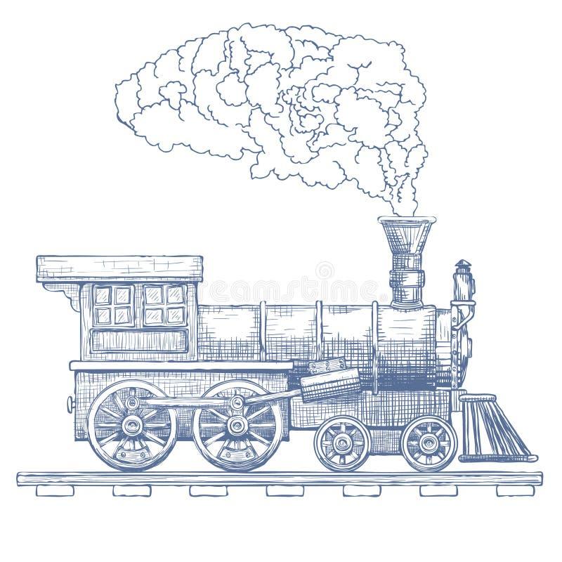 Plantilla del diseño del logotipo del vector de la locomotora de vapor del vintage tren o icono del transporte Vector stock de ilustración