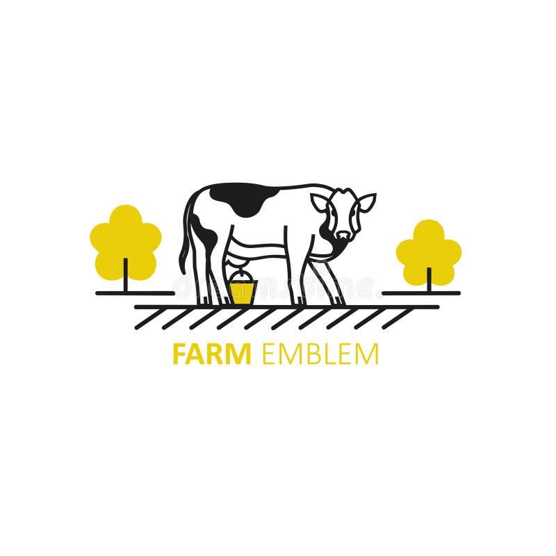 Plantilla del diseño del logotipo del vector en el estilo linear - ejemplo de la vaca fotografía de archivo