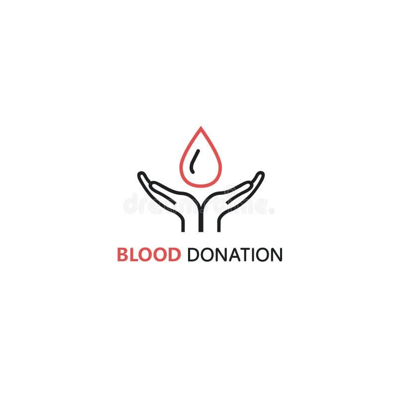 Plantilla del diseño del logotipo del vector en estilo linear - las manos que llevan a cabo sangre caen stock de ilustración