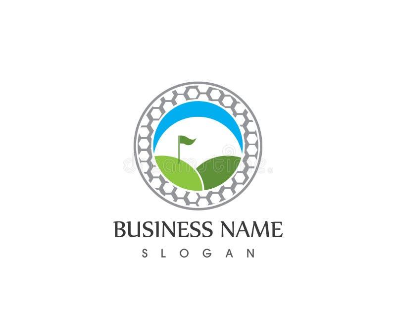 Plantilla del diseño del logotipo del vector del icono del deporte del golf stock de ilustración