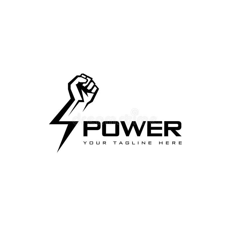Plantilla del diseño del logotipo del vector Mano masculina del puño, símbolo proletario de la protesta Muestra del poder stock de ilustración