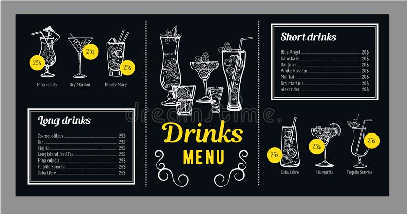 Plantilla del diseño del menú del cóctel con la lista de bebidas y gráficos con los cócteles Ejemplo exhausto de la mano del esqu stock de ilustración