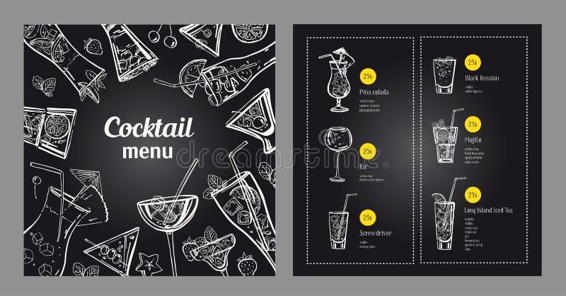 Plantilla del diseño del menú del cóctel Ejemplo exhausto de la mano del esquema del vector con el fondo de la pizarra stock de ilustración