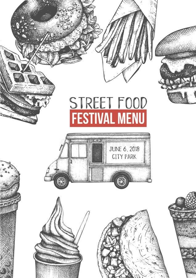Plantilla del diseño del menú del camión de la comida con las hamburguesas de la mano, las fritadas, los postres y los bosquejos  stock de ilustración
