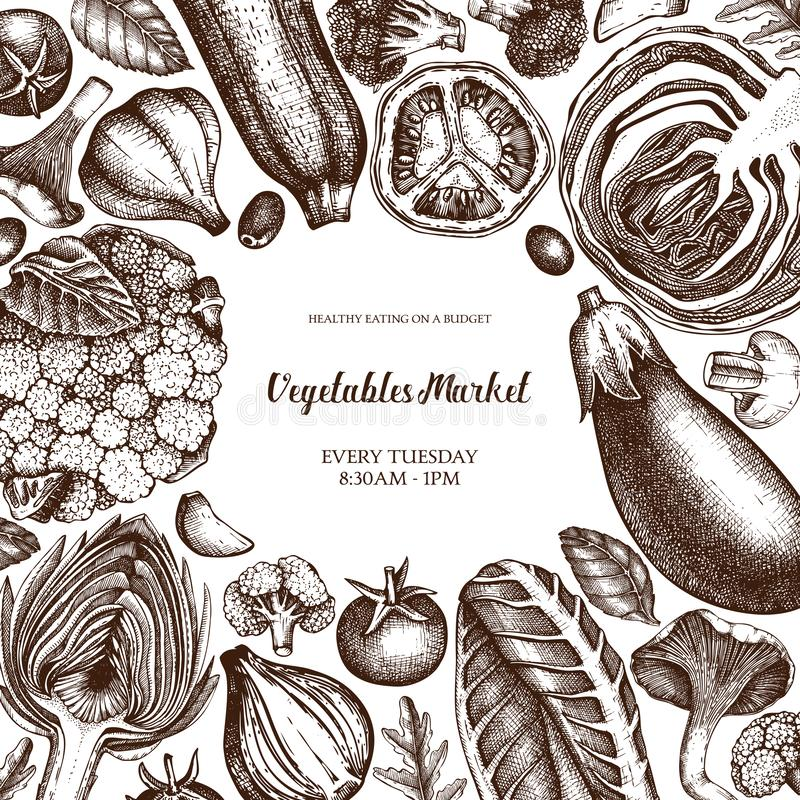 Plantilla del diseño del mercado fresco del vector Marco del vintage con bosquejos exhaustos de las verduras y de las especias de libre illustration