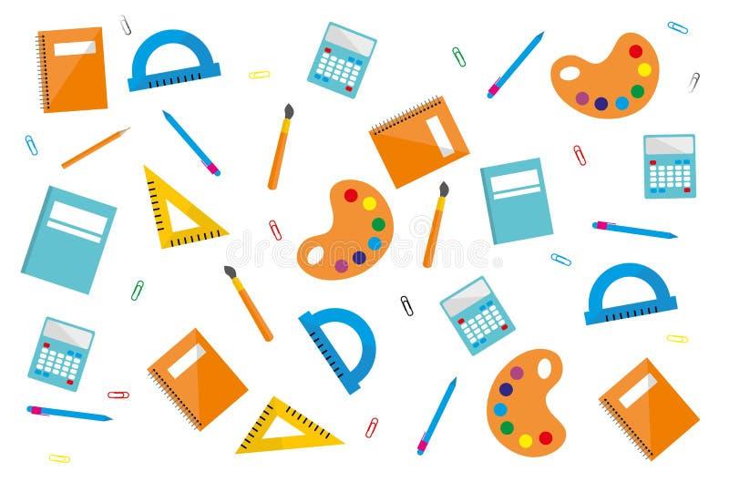 Plantilla del diseño moderno con los accesorios de la escuela stock de ilustración