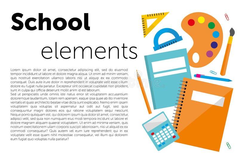 Plantilla del diseño moderno con los accesorios de la escuela y 'las letras de los elementos de la escuela ' ilustración del vector