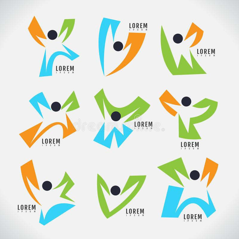 Plantilla del diseño moderno de la persona del logotipo figura humana feliz Vector i libre illustration