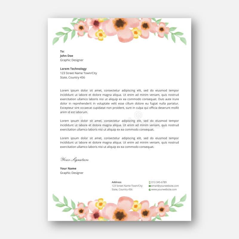 Plantilla del diseño del papel con membrete de la flor de la acuarela ilustración del vector